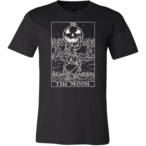 teelaunch T-shirt Canvas Mens Shirt / Black / S The Moon Monotone Tarot Card - Ghoulish Edition Unisex T-Shirt