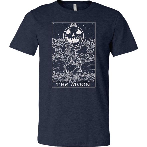 teelaunch T-shirt Canvas Mens Shirt / Heather Navy / S The Moon Monotone Tarot Card - Ghoulish Edition Unisex T-Shirt