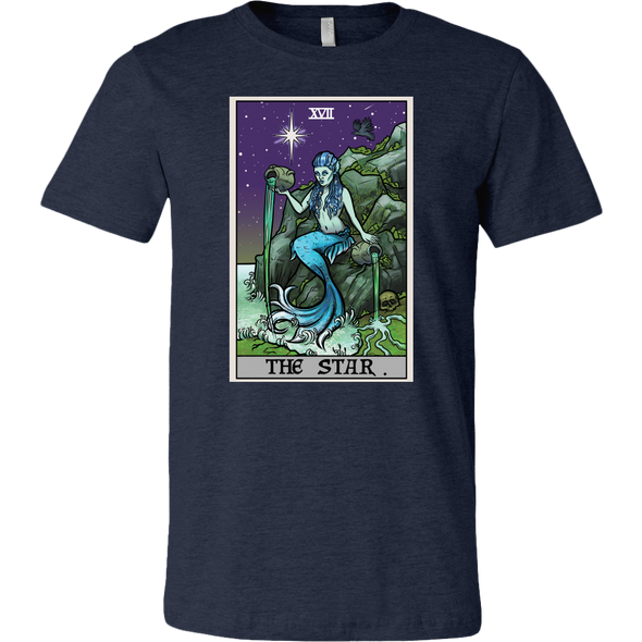 teelaunch T-shirt Canvas Mens Shirt / Heather Navy / S The Star Tarot Card - Ghoulish Edition Unisex T-Shirt