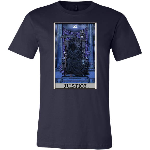 teelaunch T-shirt Canvas Mens Shirt / Navy / S Justice Tarot Card - Ghoulish Edition Unisex T-Shirt