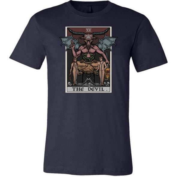teelaunch T-shirt Canvas Mens Shirt / Navy / S The Devil Tarot Card Unisex T-Shirt