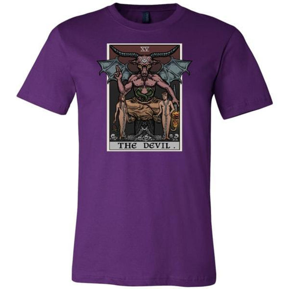 teelaunch T-shirt Canvas Mens Shirt / Team Purple / S The Devil Tarot Card Unisex T-Shirt