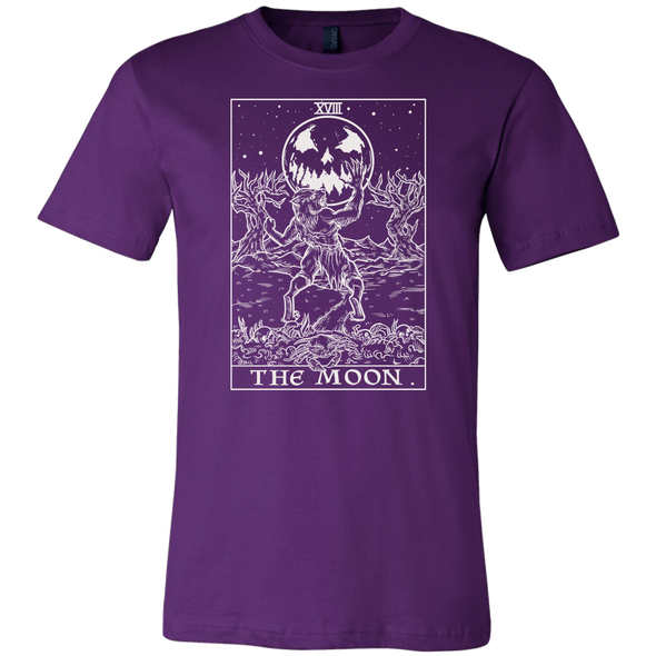 teelaunch T-shirt Canvas Mens Shirt / Team Purple / S The Moon Monotone Tarot Card - Ghoulish Edition Unisex T-Shirt