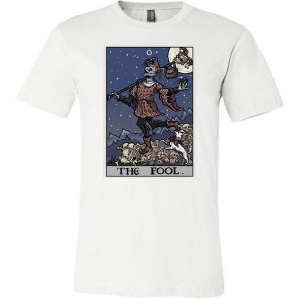 teelaunch T-shirt Canvas Mens Shirt / White / S The Fool Tarot Card Unisex T-Shirt