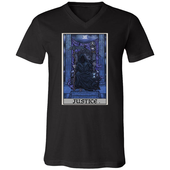 teelaunch T-shirt Canvas Mens V-Neck / Black / S Justice Tarot Card - Ghoulish Edition Unisex V-Neck