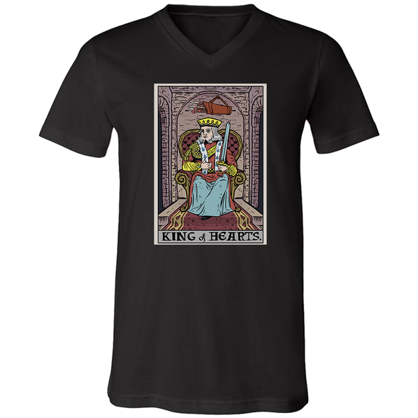 teelaunch T-shirt Canvas Mens V-Neck / Black / S King of Hearts In Tarot Unisex V-Neck