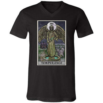 teelaunch T-shirt Canvas Mens V-Neck / Black / S Temperance Tarot Card - Ghoulish Edition Unisex V-Neck