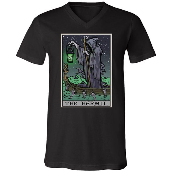 teelaunch T-shirt Canvas Mens V-Neck / Black / S The Hermit Tarot Card - Ghoulish Edition Unisex V-neck