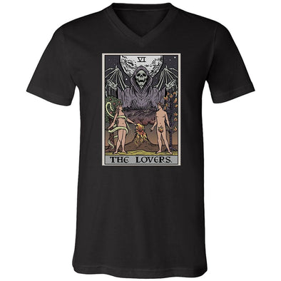 teelaunch T-shirt Canvas Mens V-Neck / Black / S The Lovers Tarot Card - Ghoulish Edition Unisex V-Neck