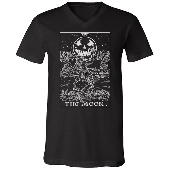 teelaunch T-shirt Canvas Mens V-Neck / Black / S The Moon Monotone Tarot Card - Ghoulish Edition Unisex V-Neck