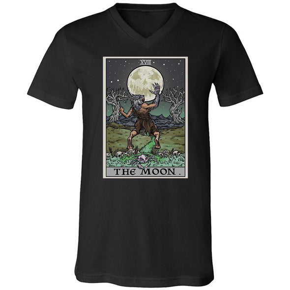 teelaunch T-shirt Canvas Mens V-Neck / Black / S The Moon Tarot Card Unisex V-Neck