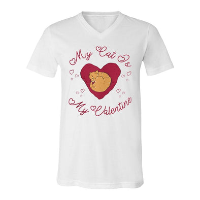 teelaunch T-shirt Canvas Mens V-Neck / White / S My Cat Is My Valentine Unisex V-Neck Shirt