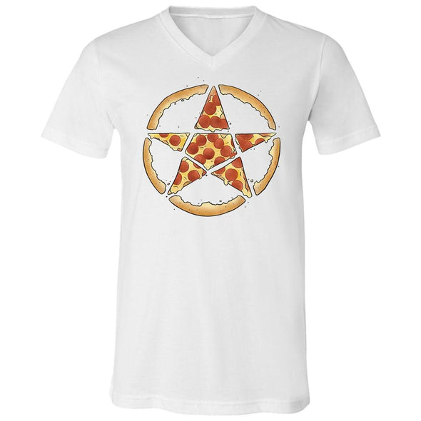 teelaunch T-shirt Canvas Mens V-Neck / White / S Pizzagram Unisex V-Neck
