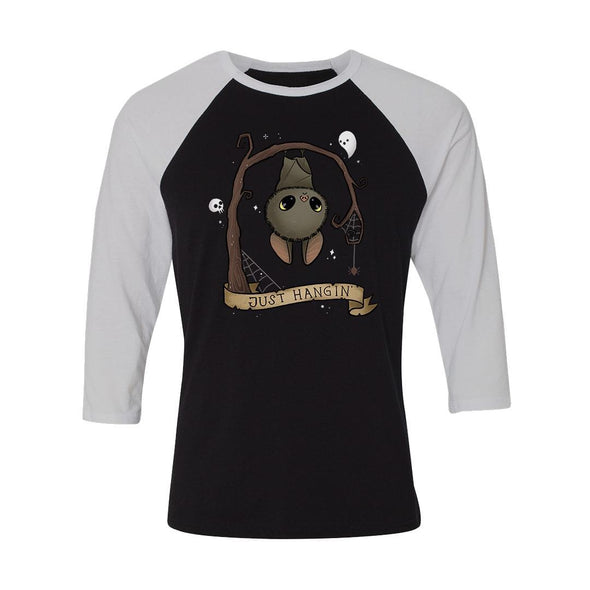 teelaunch T-shirt Canvas Unisex 3/4 Raglan / Black/White / S Just Hangin' Unisex Raglan