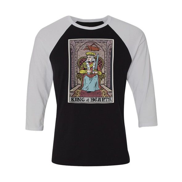teelaunch T-shirt Canvas Unisex 3/4 Raglan / Black/White / S King of Hearts In Tarot Raglan