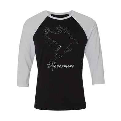 teelaunch T-shirt Canvas Unisex 3/4 Raglan / Black/White / S Nevermore Unisex Raglan