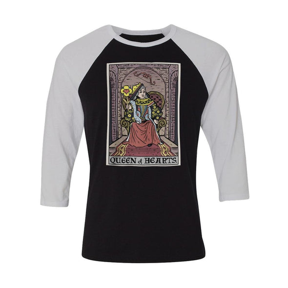 teelaunch T-shirt Canvas Unisex 3/4 Raglan / Black/White / S Queen of Hearts In Tarot Raglan