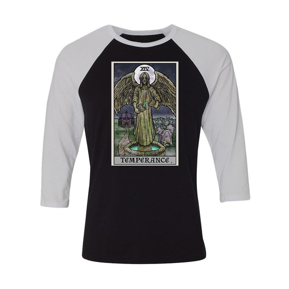 teelaunch T-shirt Canvas Unisex 3/4 Raglan / Black/White / S Temperance Tarot Card - Ghoulish Edition Unisex Raglan