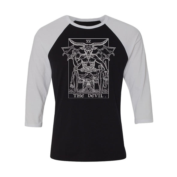 teelaunch T-shirt Canvas Unisex 3/4 Raglan / Black/White / S The Devil Monochrome Tarot Card - Ghoulish Edition Unisex Raglan