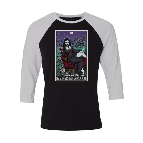 teelaunch T-shirt Canvas Unisex 3/4 Raglan / Black/White / S The Empress Tarot Card - Ghoulish Edition Unisex Raglan