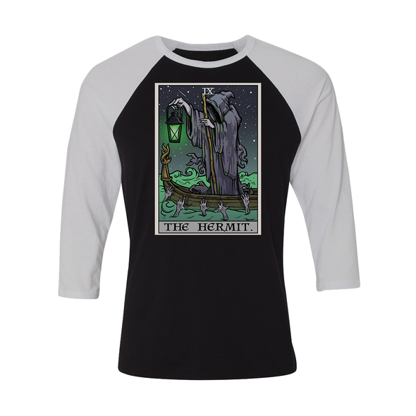 teelaunch T-shirt Canvas Unisex 3/4 Raglan / Black/White / S The Hermit Tarot Card - Ghoulish Edition Unisex Raglan