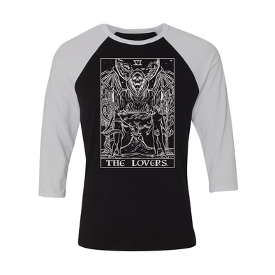 teelaunch T-shirt Canvas Unisex 3/4 Raglan / Black/White / S The Lovers Monochrome Tarot Card - Ghoulish Edition Unisex Raglan