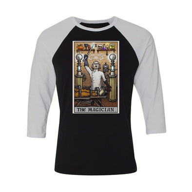 teelaunch T-shirt Canvas Unisex 3/4 Raglan / Black/White / S The Magician Tarot Card - Ghoulish Edition Unisex Raglan