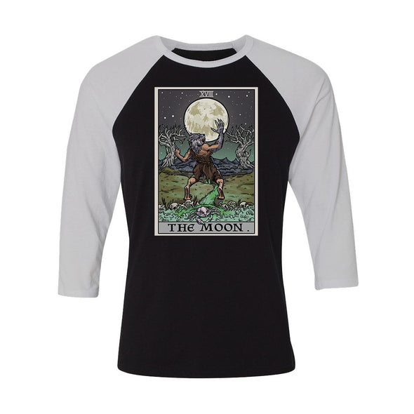 teelaunch T-shirt Canvas Unisex 3/4 Raglan / Black/White / S The Moon Tarot Card Unisex Raglan