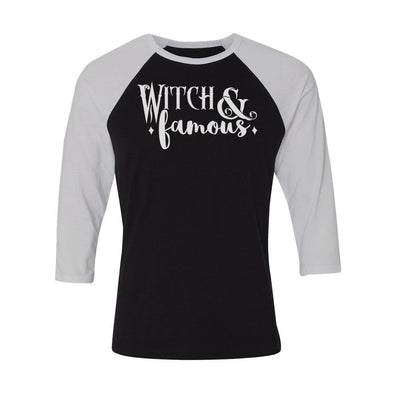teelaunch T-shirt Canvas Unisex 3/4 Raglan / Black/White / S Witch and Famous Unisex Raglan