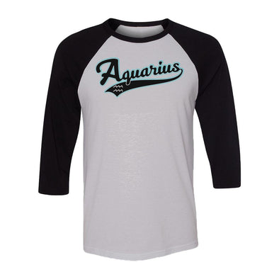 teelaunch T-shirt Canvas Unisex 3/4 Raglan / White/Black / S Aquarius - Baseball Style Unisex Raglan