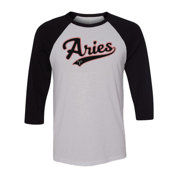 teelaunch T-shirt Canvas Unisex 3/4 Raglan / White/Black / S Aries - Baseball Style Unisex Raglan