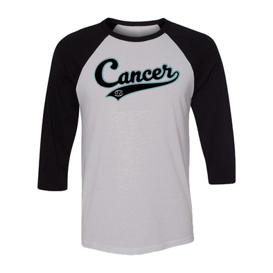 teelaunch T-shirt Canvas Unisex 3/4 Raglan / White/Black / S Cancer - Baseball Style Unisex Raglan