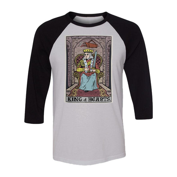 teelaunch T-shirt Canvas Unisex 3/4 Raglan / White/Black / S King of Hearts In Tarot Raglan