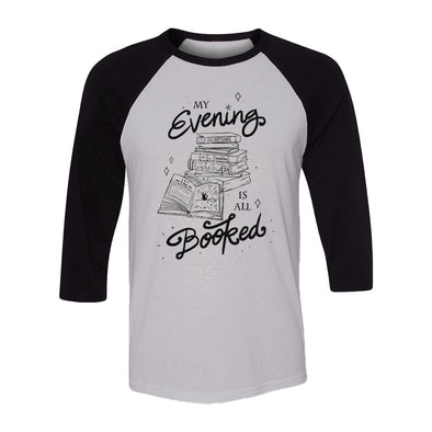 teelaunch T-shirt Canvas Unisex 3/4 Raglan / White/Black / S My Evening Is All Booked Raglan
