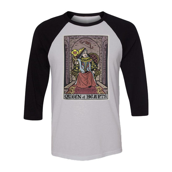 teelaunch T-shirt Canvas Unisex 3/4 Raglan / White/Black / S Queen of Hearts In Tarot Raglan