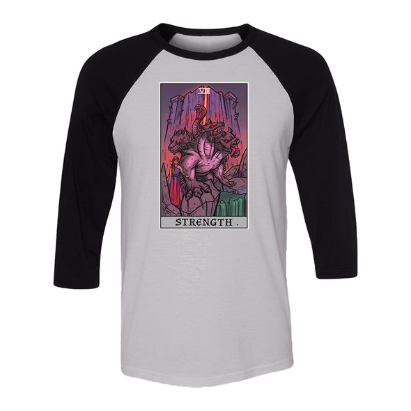 teelaunch T-shirt Canvas Unisex 3/4 Raglan / White/Black / S Strength Tarot Card - Ghoulish Edition Unisex Raglan
