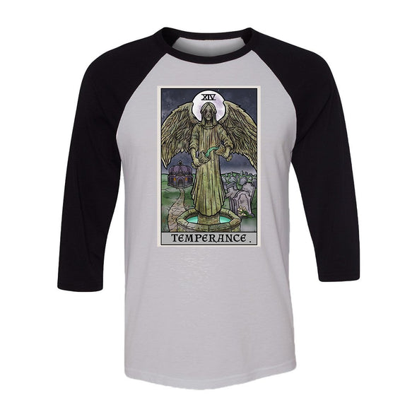 teelaunch T-shirt Canvas Unisex 3/4 Raglan / White/Black / S Temperance Tarot Card - Ghoulish Edition Unisex Raglan