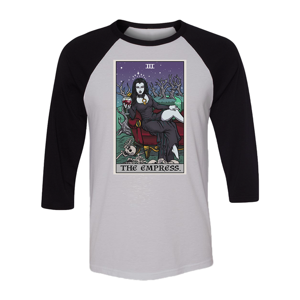 teelaunch T-shirt Canvas Unisex 3/4 Raglan / White/Black / S The Empress Tarot Card - Ghoulish Edition Unisex Raglan
