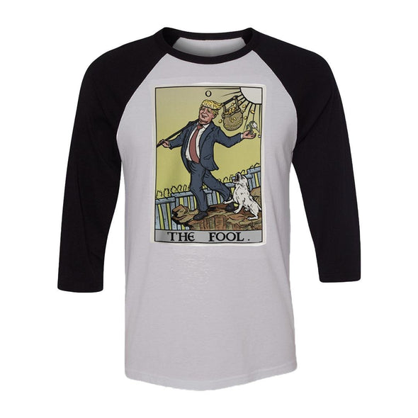 teelaunch T-shirt Canvas Unisex 3/4 Raglan / White/Black / S The Fool Tarot Card - Donald Trump Unisex Raglan
