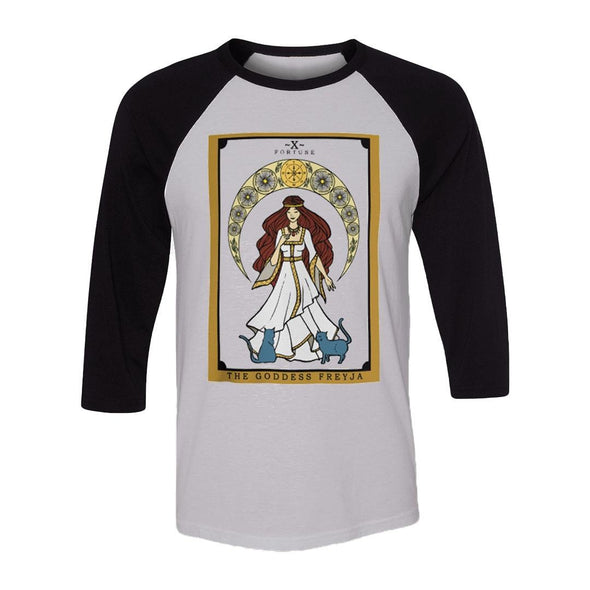 teelaunch T-shirt Canvas Unisex 3/4 Raglan / White/Black / S The Goddess Freyja Raglan