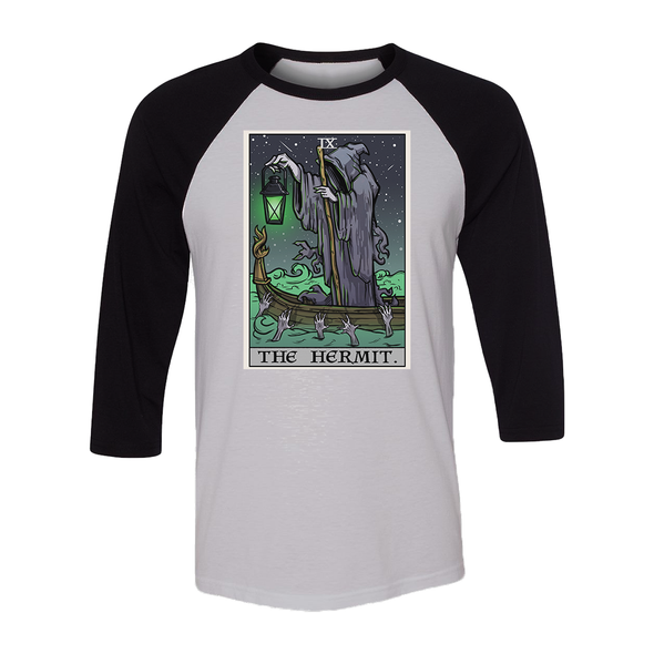 teelaunch T-shirt Canvas Unisex 3/4 Raglan / White/Black / S The Hermit Tarot Card - Ghoulish Edition Unisex Raglan