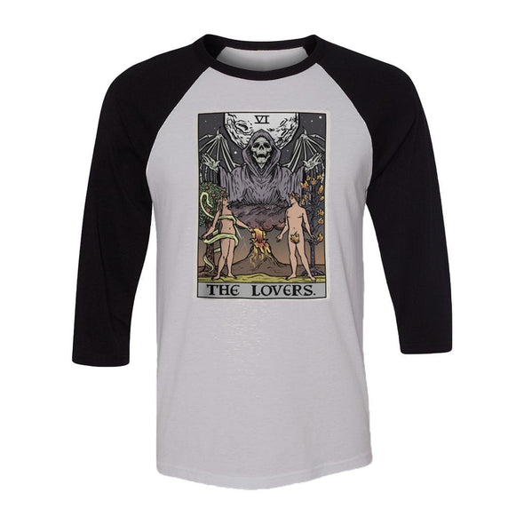 teelaunch T-shirt Canvas Unisex 3/4 Raglan / White/Black / S The Lovers Tarot Card Raglan
