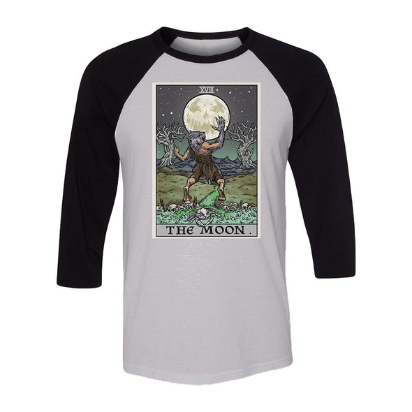 teelaunch T-shirt Canvas Unisex 3/4 Raglan / White/Black / S The Moon Tarot Card Unisex Raglan