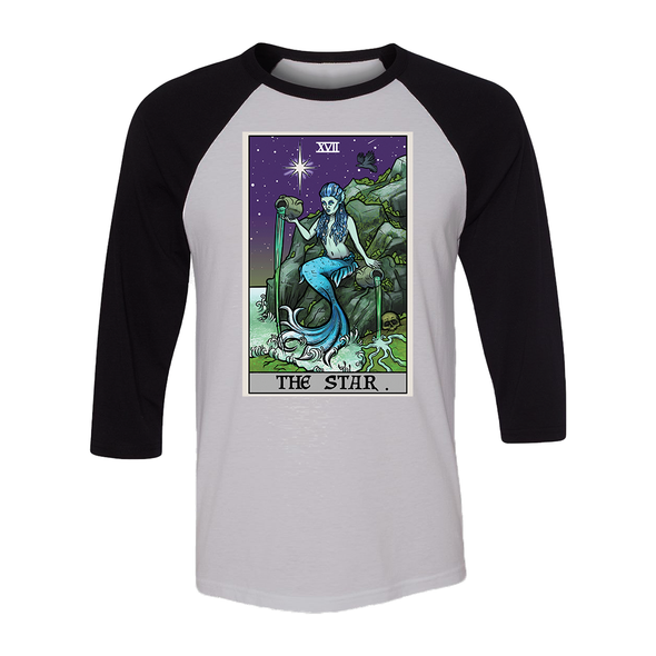 teelaunch T-shirt Canvas Unisex 3/4 Raglan / White/Black / S The Star Tarot Card - Ghoulish Edition Unisex Raglan