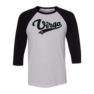 teelaunch T-shirt Canvas Unisex 3/4 Raglan / White/Black / S Virgo - Baseball Style Unisex Raglan