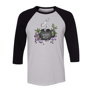 teelaunch T-shirt Canvas Unisex 3/4 Raglan / White/Black / S Witch's Brew Raglan