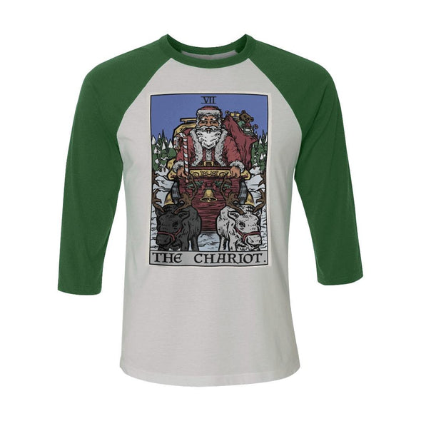 teelaunch T-shirt Canvas Unisex 3/4 Raglan / White/Evergreen / S The Chariot - Christmas Edition Raglan