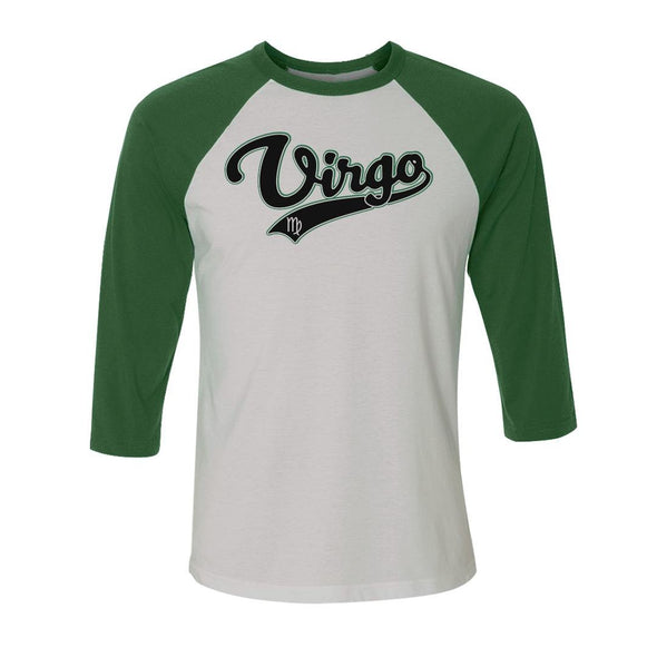 teelaunch T-shirt Canvas Unisex 3/4 Raglan / White/Evergreen / S Virgo - Baseball Style Unisex Raglan
