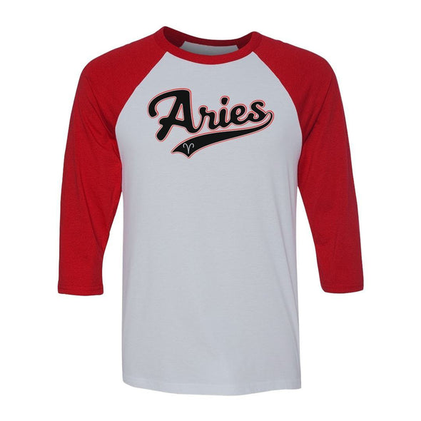 teelaunch T-shirt Canvas Unisex 3/4 Raglan / White/Red / S Aries - Baseball Style Unisex Raglan