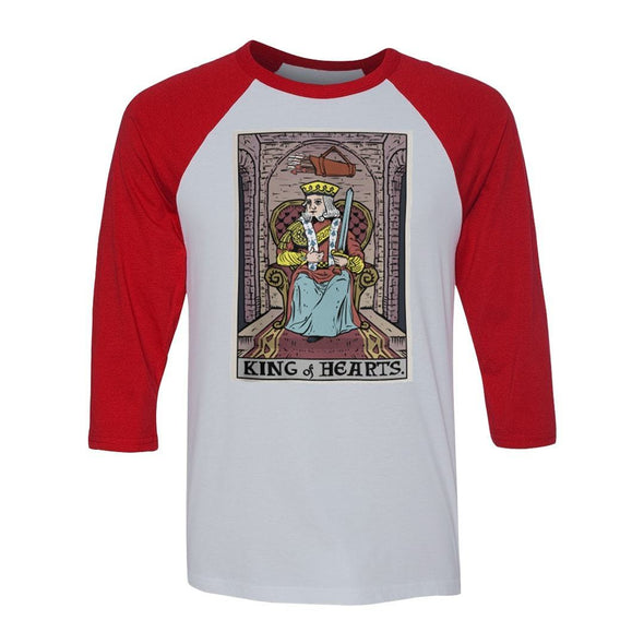 teelaunch T-shirt Canvas Unisex 3/4 Raglan / White/Red / S King of Hearts In Tarot Raglan